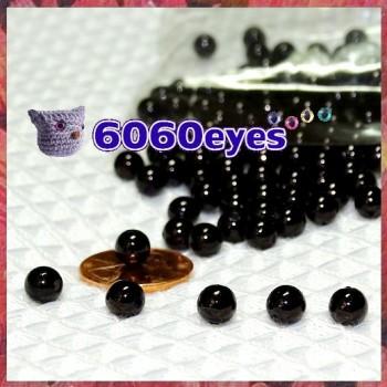 60 Pairs 6mm BLACK bead eyes, Plastic eyes, Craft eyes,  Animal Eyes, Round eyes