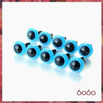 5 Pairs 7.5 mm BLUE Plastic eyes, Safety eyes, Animal Eyes, Round eyes