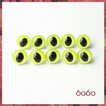 5 Pairs 7.5mm LEMON YELLOW Plastic Cat eyes, Safety eyes, Animal Eyes, Round eyes