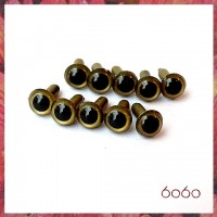 5 Pairs 7.5 mm GOLD Plastic eyes, Safety eyes, Animal Eyes, Round eyes