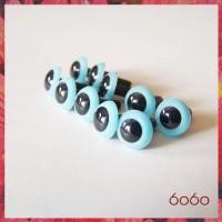 5 Pairs 7.5 mm LIGHT BLUE Plastic eyes, Safety eyes, Animal Eyes, Round eyes