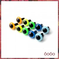 5 pairs 7.5 mm NEON AND LIGHT BLUE Plastic eyes, Safety eyes, Animal Eyes, Round eyes