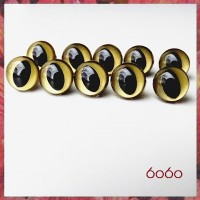 5 Pairs 9mm GOLD Plastic Cat eyes, Safety eyes, Animal Eyes, Round eyes