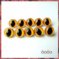 5 Pairs 9mm ORANGE Plastic Cat eyes, Safety eyes, Animal Eyes, Round eyes