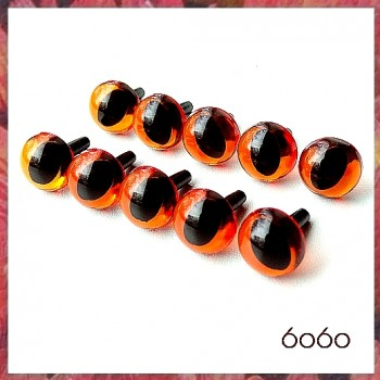 5 Pairs 9mm Transparent AMBER Plastic Cat eyes, Safety eyes, Animal Eyes, Round eyes