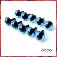 5 Pairs 9mm TRANSPARENT BLUE Plastic Cat eyes, Safety eyes, Animal Eyes, Round eyes