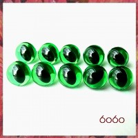 5 Pairs 9mm TRANSPARENT GREEN Plastic Cat eyes, Safety eyes, Animal Eyes, Round eyes