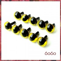 5 PAIRS 12mm Transparent Yellow Cat eyes, Safety eyes, Animal Eyes, Round eyes