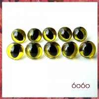 5 Pairs 9mm TRANSPARENT YELLOW Plastic Cat eyes, Safety eyes, Animal Eyes, Round eyes