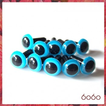 5 Pairs 9mm Blue Plastic eyes, Safety eyes, Animal Eyes, Round eyes