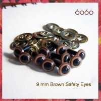 5 Pairs 9mm Brown Plastic eyes, Safety eyes, Animal Eyes, Round eyes