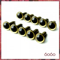 5 Pairs 9mm GOLD Plastic eyes, Safety eyes, Animal Eyes, Round eyes