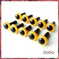 5 Pairs 9mm MANGO YELLOW Plastic eyes, Safety eyes, Animal Eyes, Round eyes