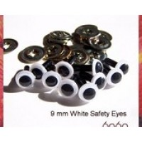 5 Pairs 9mm WHITE Plastic eyes, Safety eyes, Animal Eyes, Round eyes