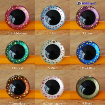 1 Pair 21mm Magic In Your Eyes Hand Painted Plastic eyes, Safety eyes, Animal Eyes, Round eyes