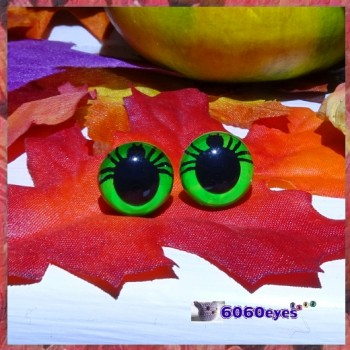 1 Pair 12mm/15mm/18mm Spider GREEN Plastic eyes, Safety eyes, Animal Eyes, Round eyes