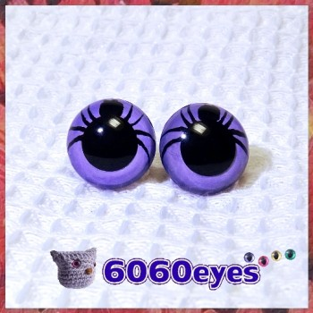 1 Pair 12mm/15mm/18mm Spider Lavender Plastic eyes, Safety eyes, Animal Eyes, Round eyes