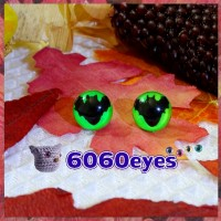 1 Pair 12mm Bat Green GLOW Plastic Fluorescent cat eyes, Safety eyes, Animal Eyes, cat eyes