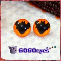 1 Pair 12mm Bat ORANGE GLOW Plastic Fluorescent cat eyes, Safety eyes, Animal Eyes, cat eyes
