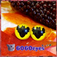 1 Pair 12mm Bat Yellow Plastic cat eyes, Safety eyes, Animal Eyes, cat eyes