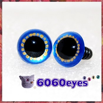 1 Pair  Blue Gold Hand Painted Safety Eyes Plastic eyes