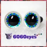 1 Pair Blue Green Pearl White Hand Painted Safety Eyes Plastic eyes