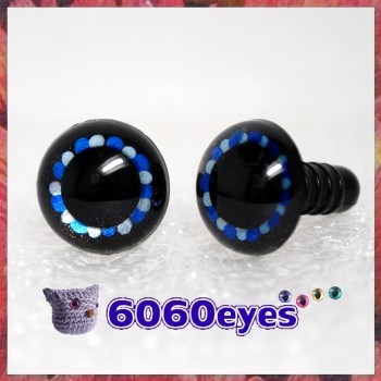 1 Pair Black Blue Silver Hand Painted Safety Eyes Plastic eyes