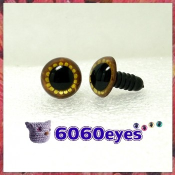 1 Pair Brown and Gold Hand Painted Safety Eyes Plastic eyes