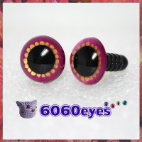 1 Pair Fuschia and Gold Hand Painted Safety Eyes Plastic eyes