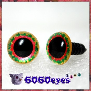 1 Pair Gold Holy Berry Hand Painted Safety Eyes Plastic eyes