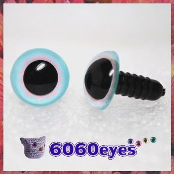 1 Pair Baby Blue and Pink Hand Painted Safety Eyes Plastic eyes