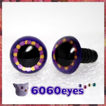 1 Pair Double Purple and Gold Hand Painted Safety Eyes Plastic eyes