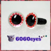 1 Pair White and Red Painted Safety Eyes Plastic eyes