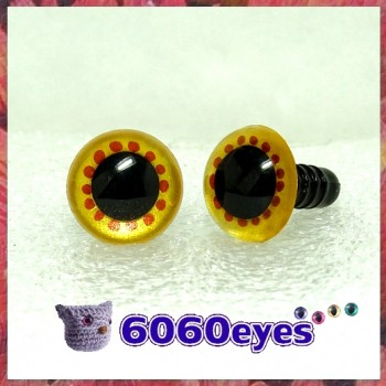 1 Pair Gold and Copper Hand Painted Safety Eyes Plastic eyes