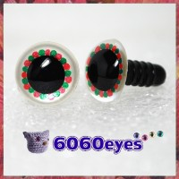 1 Pair White Red and Green Hand Painted Safety Eyes Plastic eyes