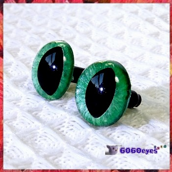 1 Pair  Hand Painted Frosty Jade Cat Eyes Safety Eyes Plastic Eyes