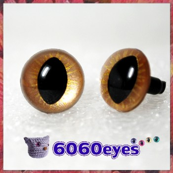1 Pair  Hand Painted Gold on Gold Cat Eyes Safety Eyes Plastic Eyes