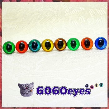 5 Pairs 12mm Hand Painted Transparent Cat eyes, Safety eyes, Animal Eyes, Round eyes