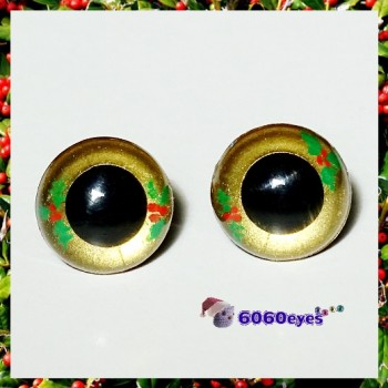 1 Pair  Hand Painted Holly Eyes Plastic Eyes Safety Eyes