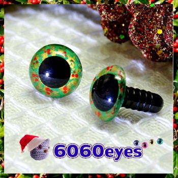 1 Pair Hand Painted Green and Gold Wreath Eyes Plastic Eyes Safety Eyes