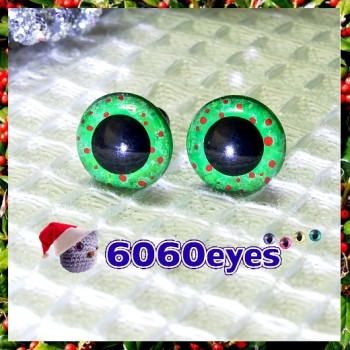 1 Pair Hand Painted Green Wreath Eyes Plastic Eyes Safety Eyes