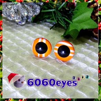 1 Pair Hand Painted Orange Ribbon Candy Eyes Plastic Eyes Safety Eyes