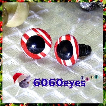 1 Pair Hand Painted Red Ribbon Candy Eyes Plastic Eyes Safety Eyes
