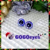 1 Pair Hand Painted Silver and Blue Wreath Eyes Plastic Eyes Safety Eyes