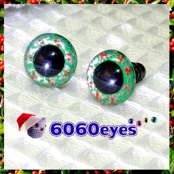 1 Pair Hand Painted Green and Silver Wreath Eyes Plastic Eyes Safety Eyes