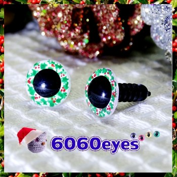 1 Pair Hand Painted Holly Wreath Eyes Plastic Eyes Safety Eyes