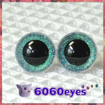 1 Pair CD-Clear Glitter Hand Painted Safety Eyes Plastic eyes