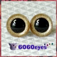 1 Pair Champagne Glitter Hand Painted Safety Eyes Plastic eyes