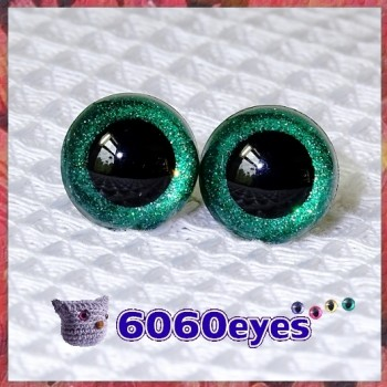 1 Pair Emerald Glitter Hand Painted Safety Eyes Plastic eyes