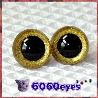 1 Pair Gold Glitter Hand Painted Safety Eyes Plastic eyes